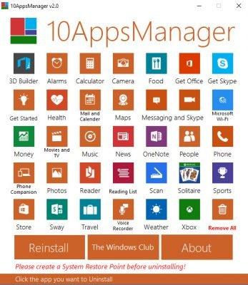 10Apps Manager zur Deinstallation von vorinstallierten Apps