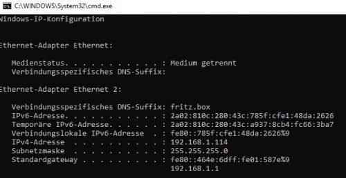 ipconfig zur Feststellung der IP-Adresse