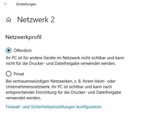 Netzwerkprofil ändern