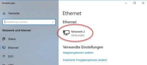 Aktive Netzwerkverbindung