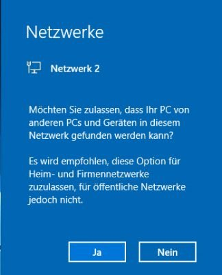 Netzwerkerkennung in Windows 10