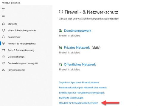 Firewall in Windows 10 zurücksetzen