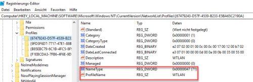 ProfileName in der Registry