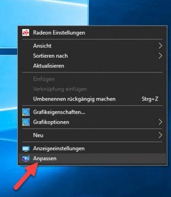 Anpassen im Kontextmenü auf dem Desktop