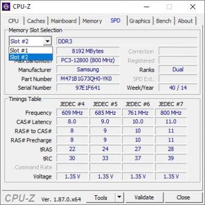 Anzeige der Speichermodule mit CPU-Z