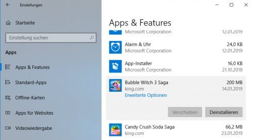 Apps deinstallieren in Windows 10
