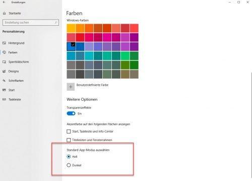 Dark Theme von Windows 10 aktivieren