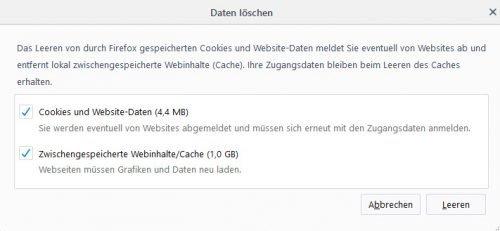 Firefox Cache löschen