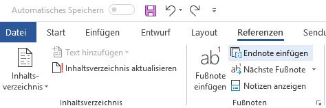Endnoten in Microsoft Word 2016/365