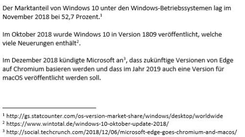 Fußnoten in Word