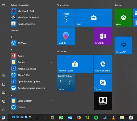 Startmenü im Windows 10 Dark Theme