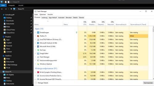 Task-Manager von Windows 10 ohne Dark Theme