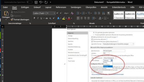 Microsoft Word im Dark Theme