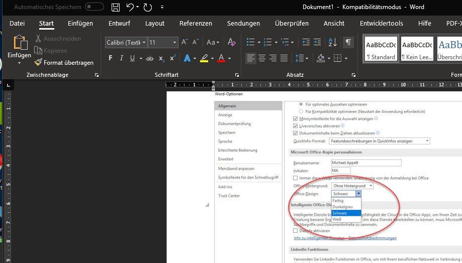 Microsoft word schwarzer hintergrund
