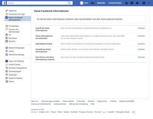 """Das Übersicht-Fenster """"Deine Facebook-Informationen""""."""