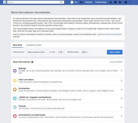 Ansicht zum Herunterladen der Facebook-Kontoinformationen