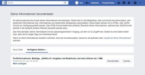 Facebook-Kontoinformationen herunterladen