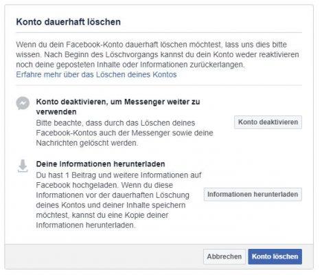 Facebook-Konto dauerhaft löschen