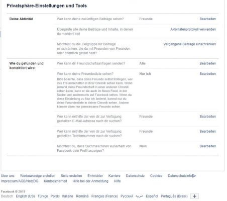 Facebook Privatsphären-Einstellungen