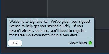 Registrierungsauforderung beim Start von Lightworks