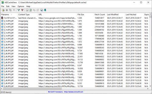 MZCacheView zeigt Inhalte vom Firefox-Cache an