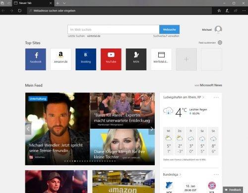 Anpassbare Internet Startseite von Microsoft Edge