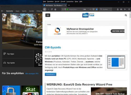Firefox und App Store im Dark Theme von Windows 10