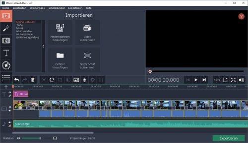Zeitleiste-Darstellung von Movavi Video Editor