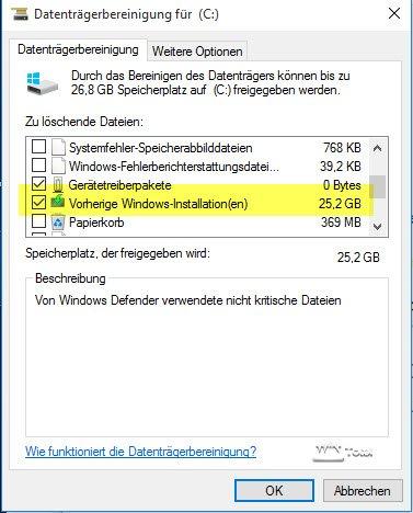 Vorherige Windows-Installation mit Cleanmgr entfernen