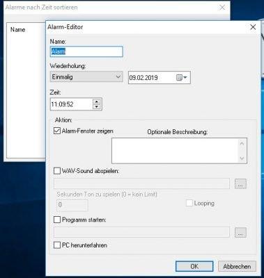 Alarm-Editor von Clocx