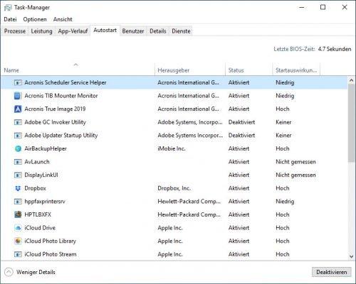 Mit dem Task-Manager von Windows 10 können Sie noch bequemer Autostart-Programme ändern
