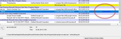 Autostart-Eintrag wird über VirusTotal gescannt