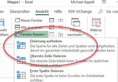 Excel Fixierung aufheben