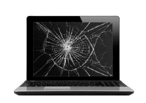 schwarzer Laptop mit kaputtem Bildschirm