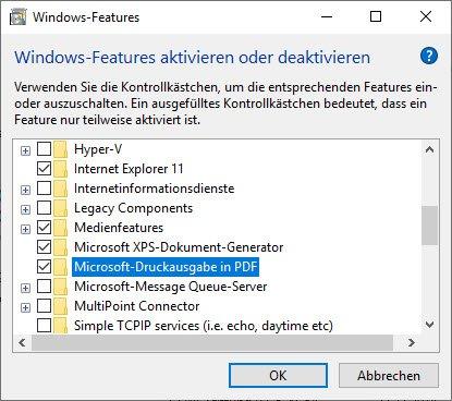Microsoft-Druckausgabe in PDF aktivieren