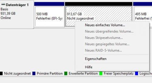 Mit der Datenträgerverwaltung erstellen Sie neue Volumes