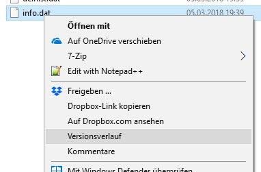 Versionsverlauf Dropbox über das Kontextmenü einer Datei.