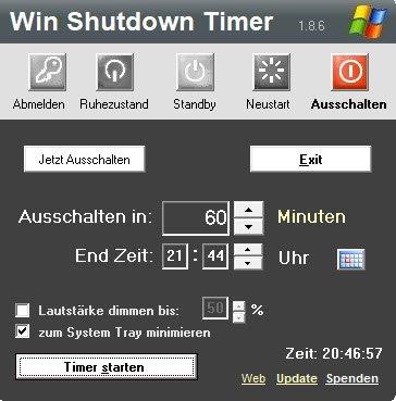 Bestimmter Zeitpunkt, wann der PC herunterfährt.