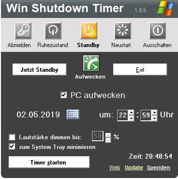 Win Shutdown Timer kann den PC auch aufwecken