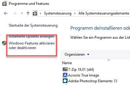 Windows-Features aktivieren oder deaktivieren