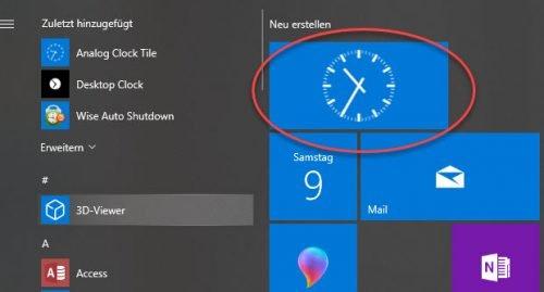 Uhr im Startmenü von Windows 10