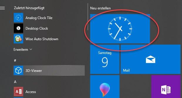Desktop Uhr Windows 10