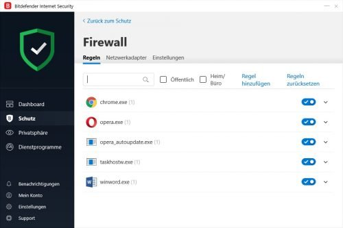 In den Firewall-Einstellungen können Sie Ausnahme-Regeln für dedizierte Anwendungen erstellen.