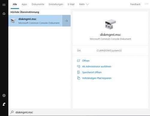 diskmgmt.msc zum Starten der Datenträgerverwaltung von Windows