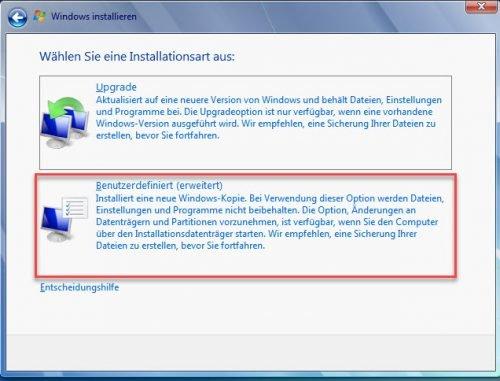 Über das benutzerdefinierte Setup können Sie Windows 10 deinstallieren und Windows 7 installieren