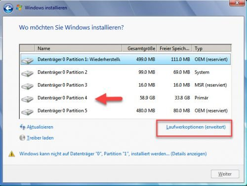 Installation von Windows 7 Partitionen löschen