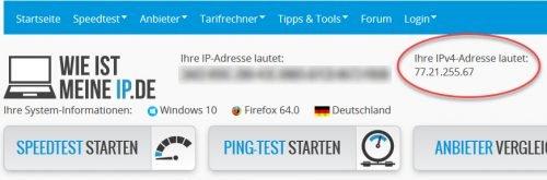Anzeige Ihrer eigenen IP-Adresse