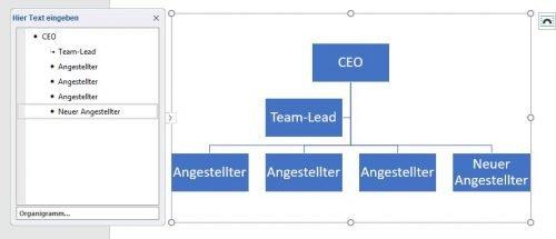 Fügen Sie weitere Formen zu Ihrem Organigramm hinzu