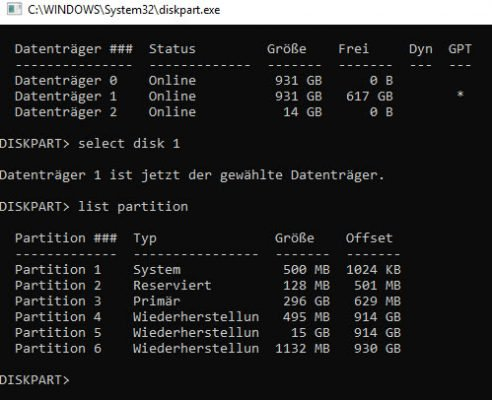 select disk und list partition