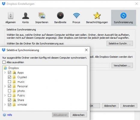 Selektive Synchronisierung in Dropbox